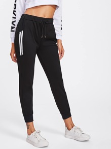 Side Striped Drawstring Waist Pants