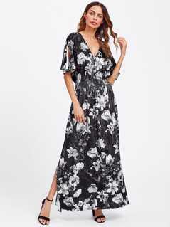 Split Sleeve Shirred Waist Floral Velvet Dress