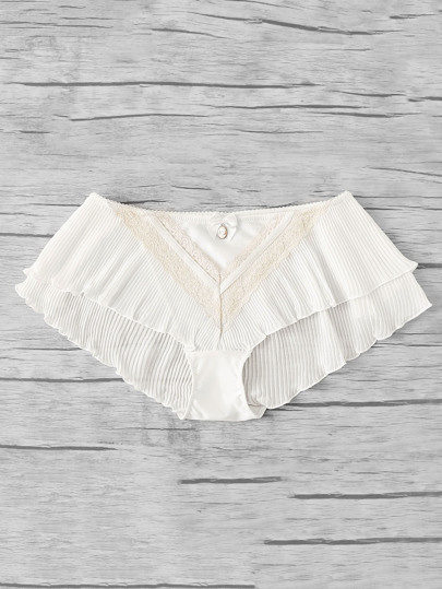 Lace Insert Detail Pleated Panty