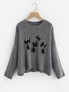 Pearl Beading Tasseled Patch Sweater