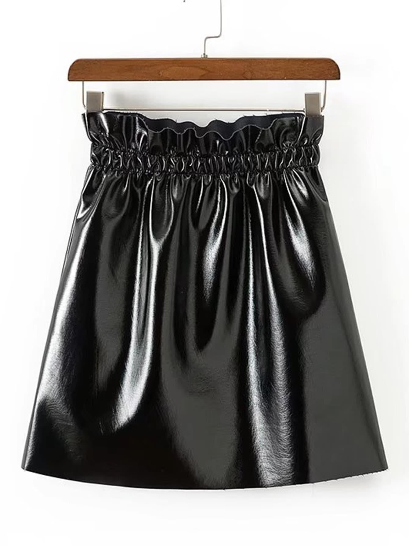 Elastic Waist PU Skirt