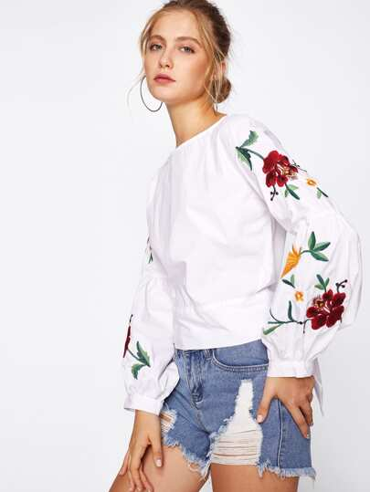 Botanical Embroidered Lantern Sleeve Tie Back Top