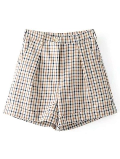 Straight Fit Gingham Shorts