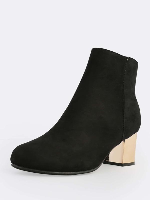 Faux Suede Gold Heel Boots BLACK -SheIn(Sheinside)