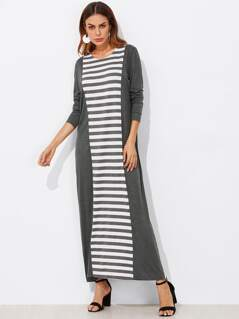 Striped Panel Heathered Knit Dress