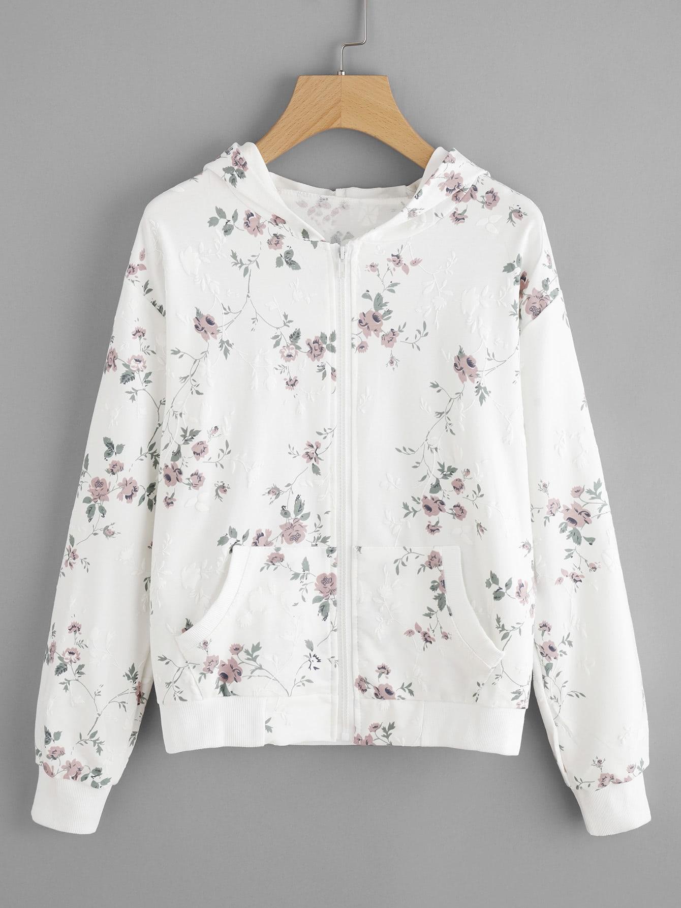 Hooded Floral Print Zip Up Jacket