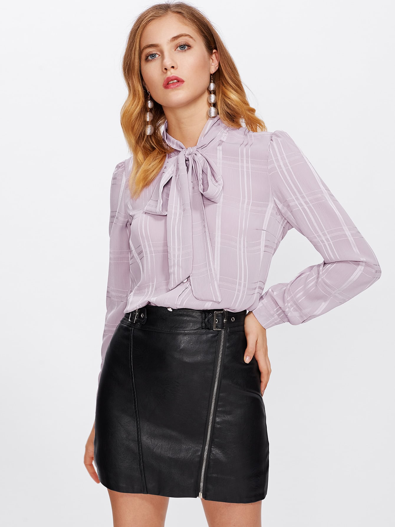 Bow Tie Neck Curved Hem Blouse self tie neck cuffded sleeves curved hem blouse