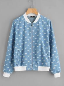 Contrast Trim Heart Print Denim Bomber Jacket