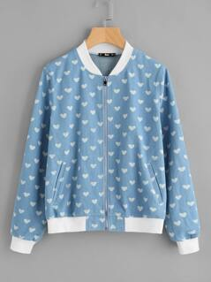Contrast Trim Heart Print Denim Bomber Jacket