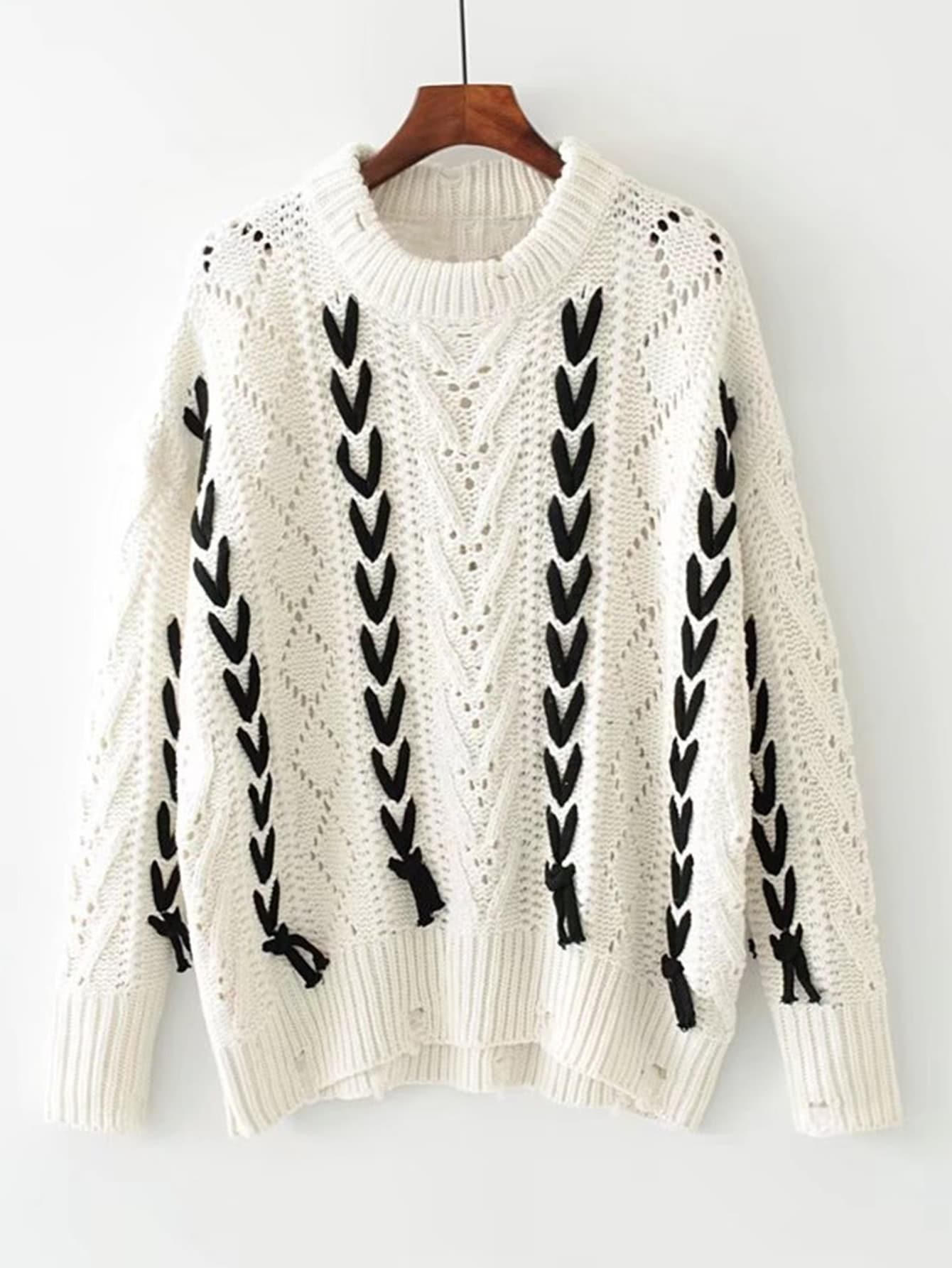 Contrast Lace Up Hollow Out Ripped Sweater sweater170906208