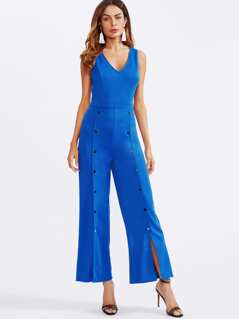Snap Buttoned Detail Palazzo Jumpsuit