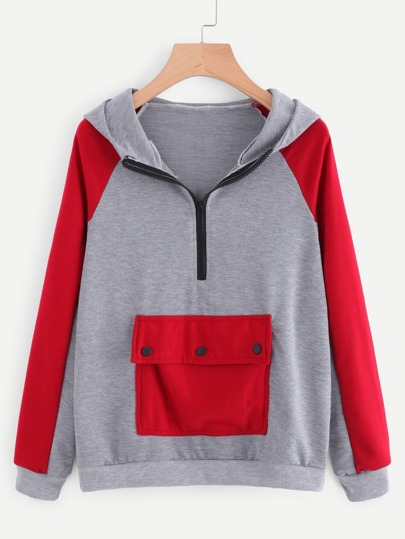 Sweat-shirt avec zip avant encapuchonné bicolore