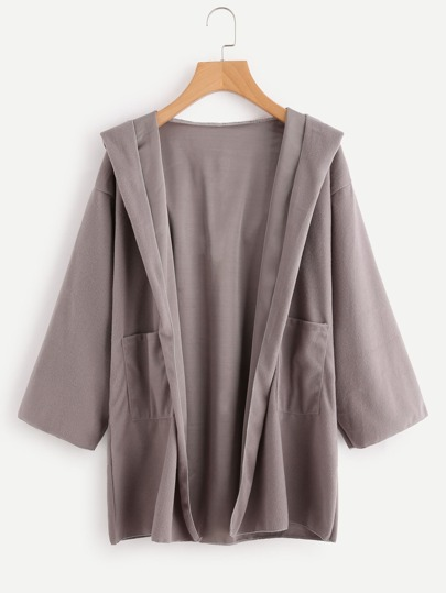 Hooded Open Front Coat