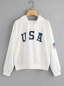 American Flag Print Hoodie