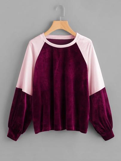 Two Tone Raglan Sleeve Velvet Pullover