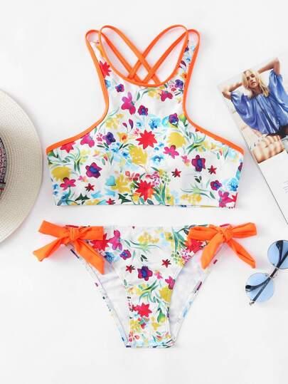 Floral Criss-cross Top Tie Side Bikini