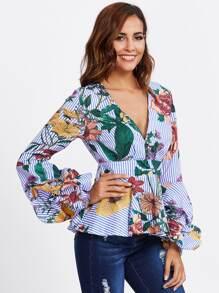 Bluse mit Muster und gesammelter Hülse