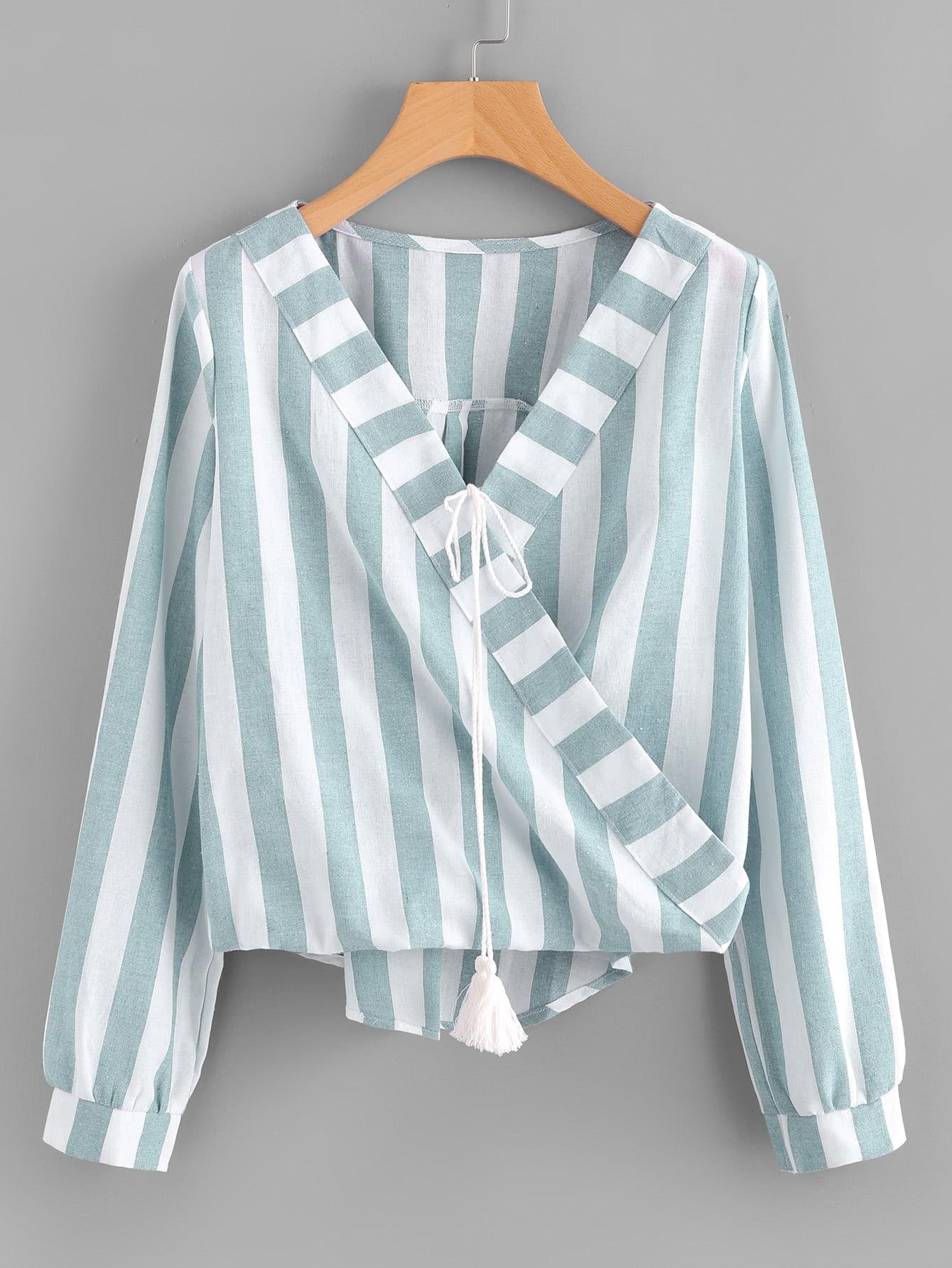 Contrast Stripe Tassel Tie Surplice Blouse