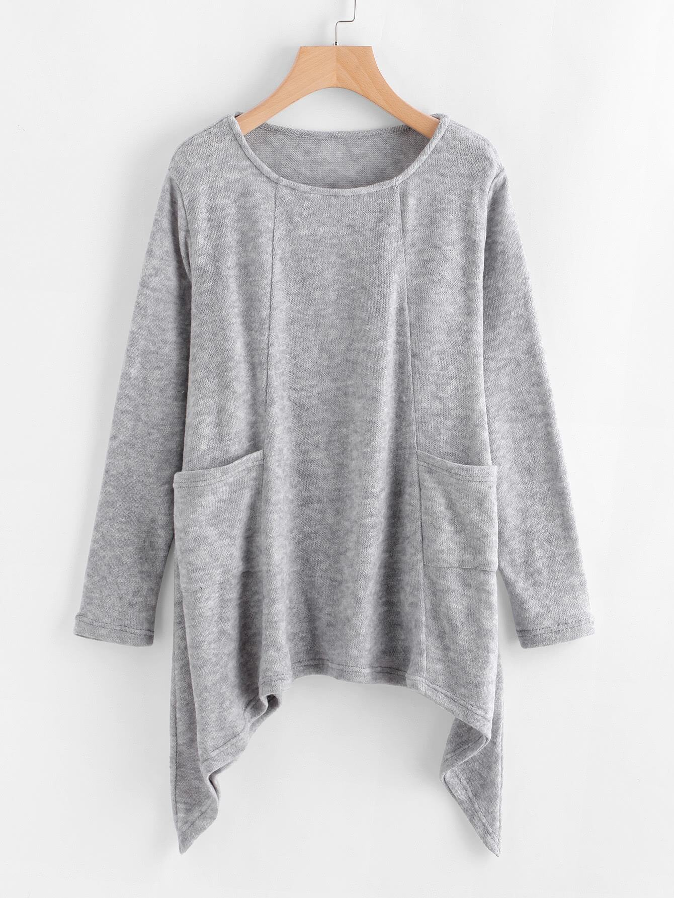 Image of Asymmetrical Hem Pocket Knit Sweater