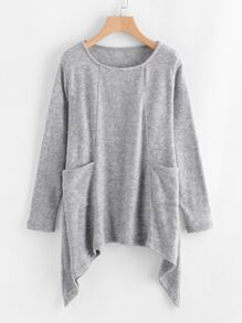 Asymmetrical Hem Pocket Knit Sweater