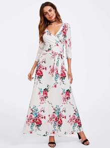 Floral Print Random Wrap Dress With Belt