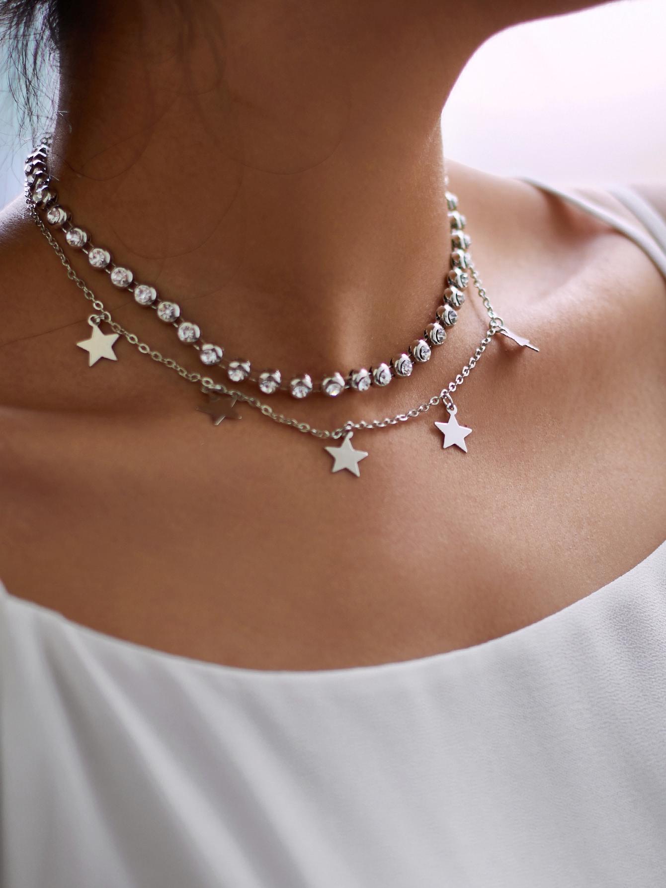 Star & Rhinestone Layered Chain Necklace