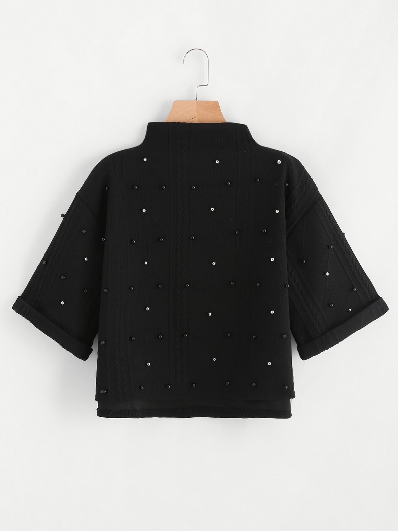 Mock Neck Beading Embossed High Low Sweatshirt