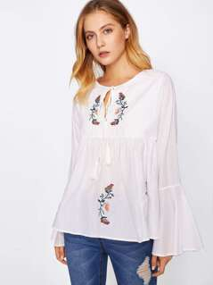 Tassel Tie Neck Bell Sleeve Flower Embroidery Top