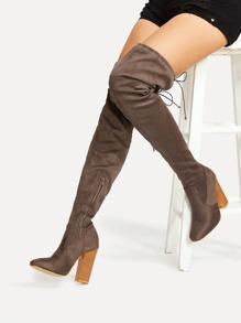 Oberschenkel hoch Stiefel mit Schnüren und Block Heeled