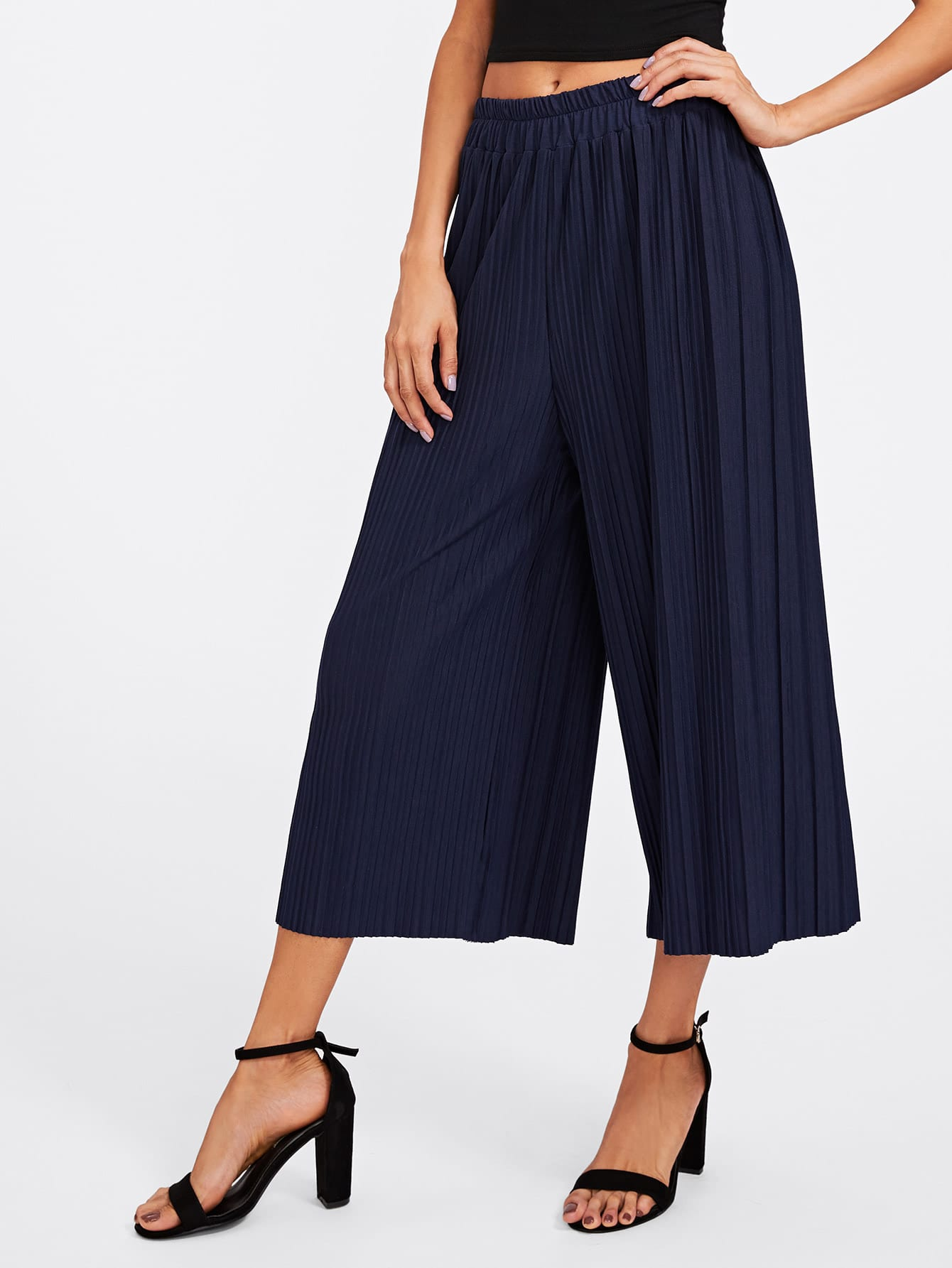 Elastic Waist Pleated Wide Leg Pants elastic ruched waist wide leg pants