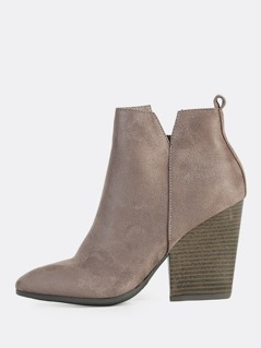 Faux Suede Wood Block Heel Boots CHARCOAL