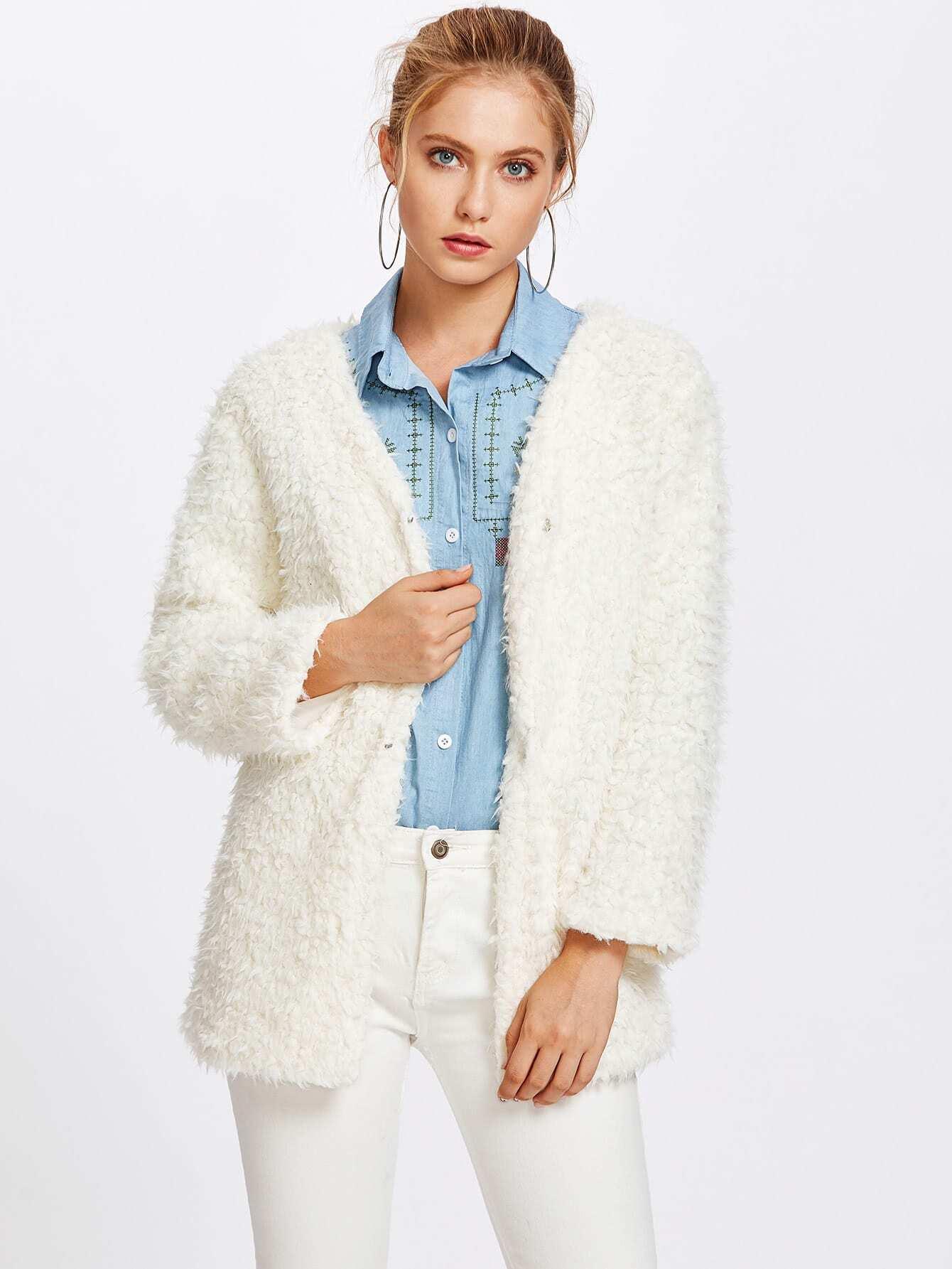 Manteau crochet laine
