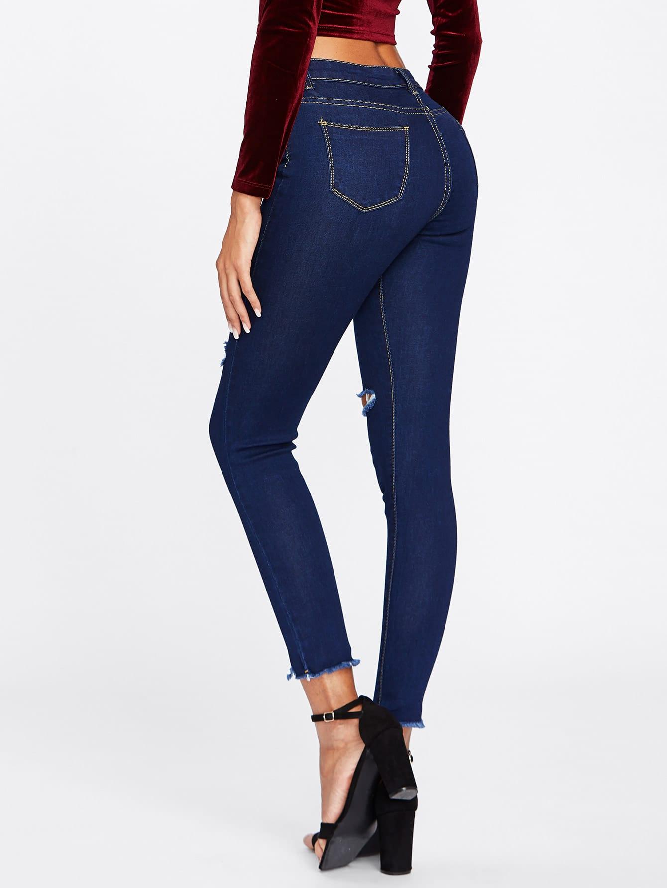 Knee Rips Frayed Hem Skinny Jeans