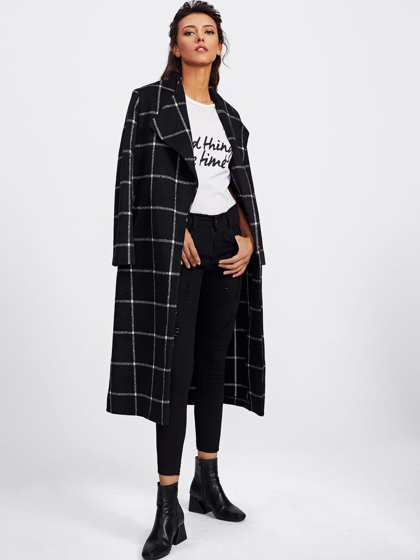 Drape Collar Grid Longline Coat
