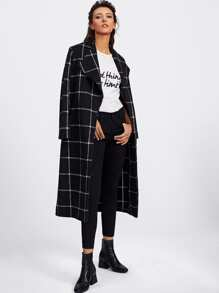 Drape Collar Grid Longline Coat