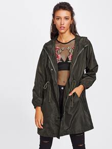 Drawstring Waist Hooded Coat