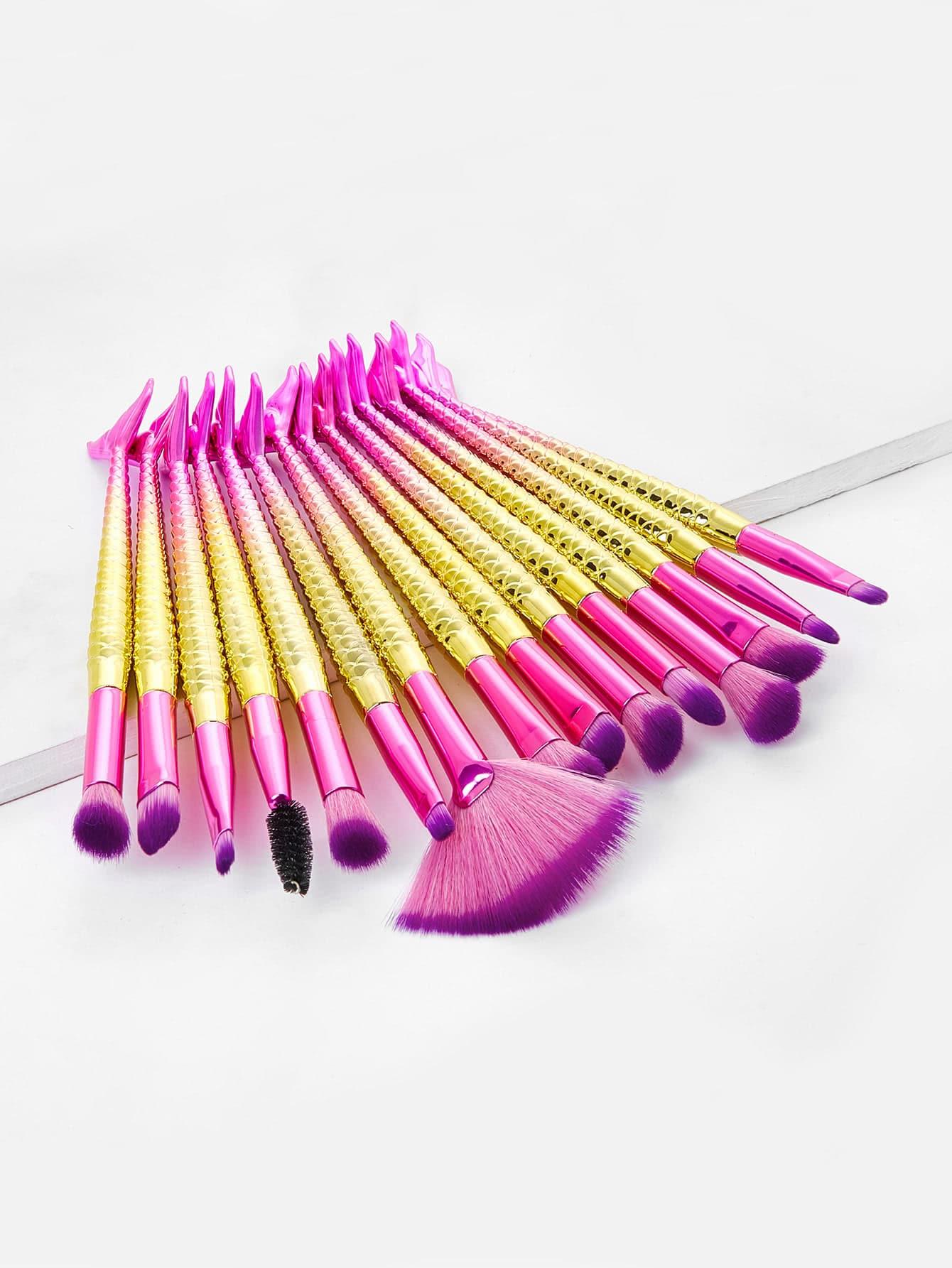 Ombre Mermaid Handle Makeup Brush 15pcs