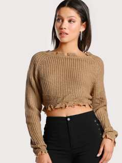Distressed Hem Crop Sweater TAUPE