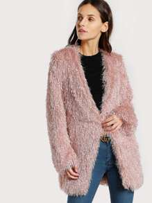 Textured Fluffy Coat BLUSH