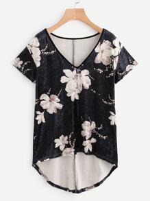 T-shirt in velluto con stampa di fiore