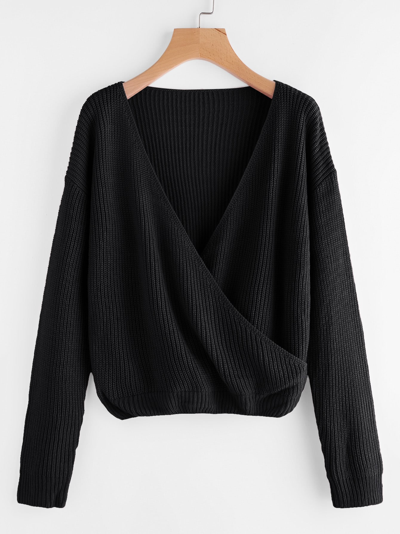 Drop Shoulder Surplice Front Sweater одеяло brigitta 140х205 light лиловый