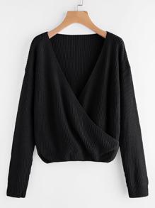 Drop Shoulder Surplice Front Sweater