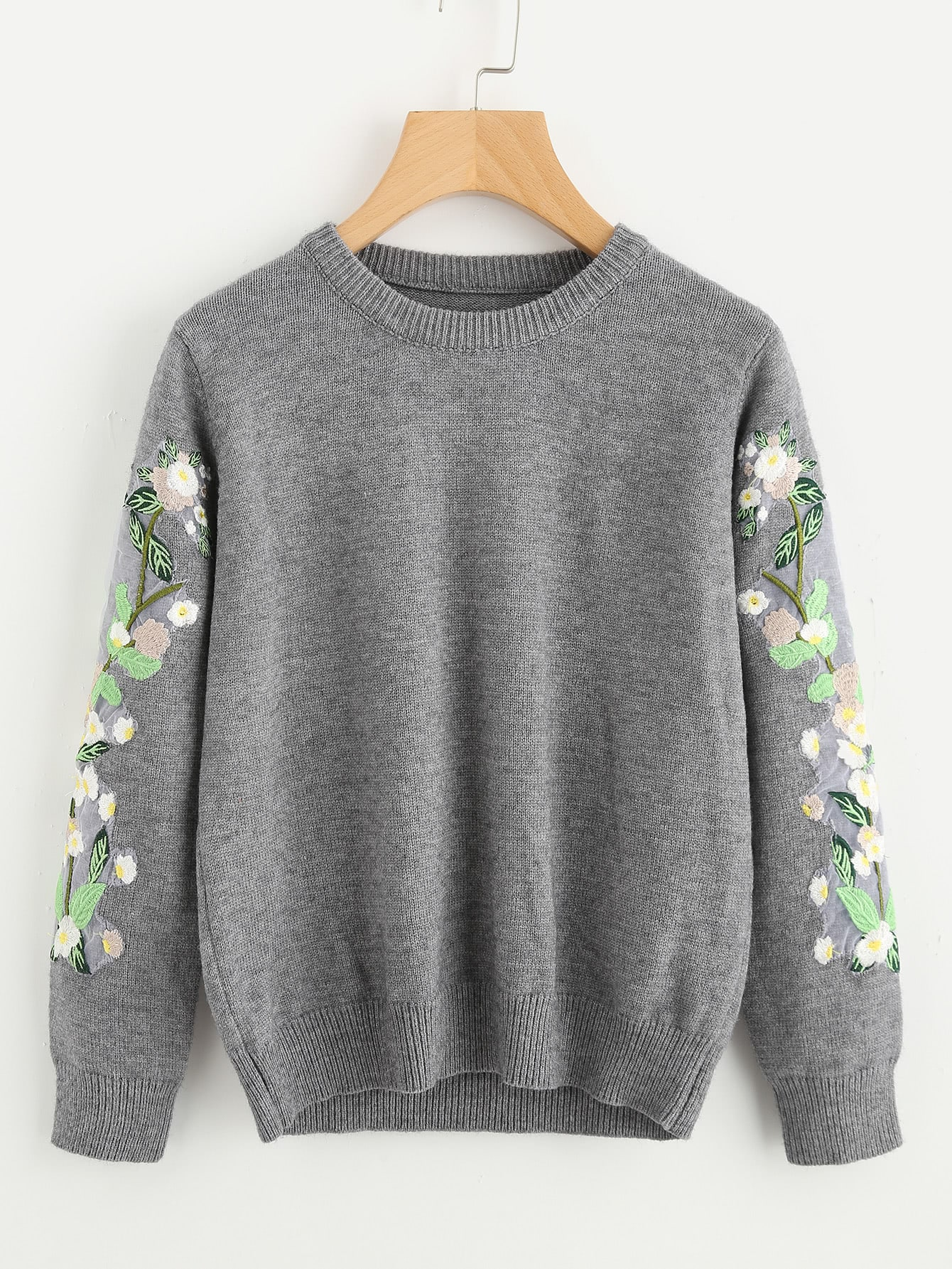 Embroidered Flower Applique Heather Knit Sweater cartoon embroidered sweater