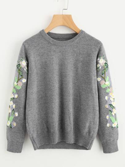 Embroidered Flower Applique Heather Knit Sweater