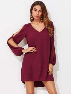 Split Sleeve Dip Hem Dress