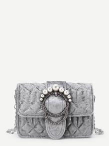 Faux Pearl Buckle Design Velvet Chain Bag