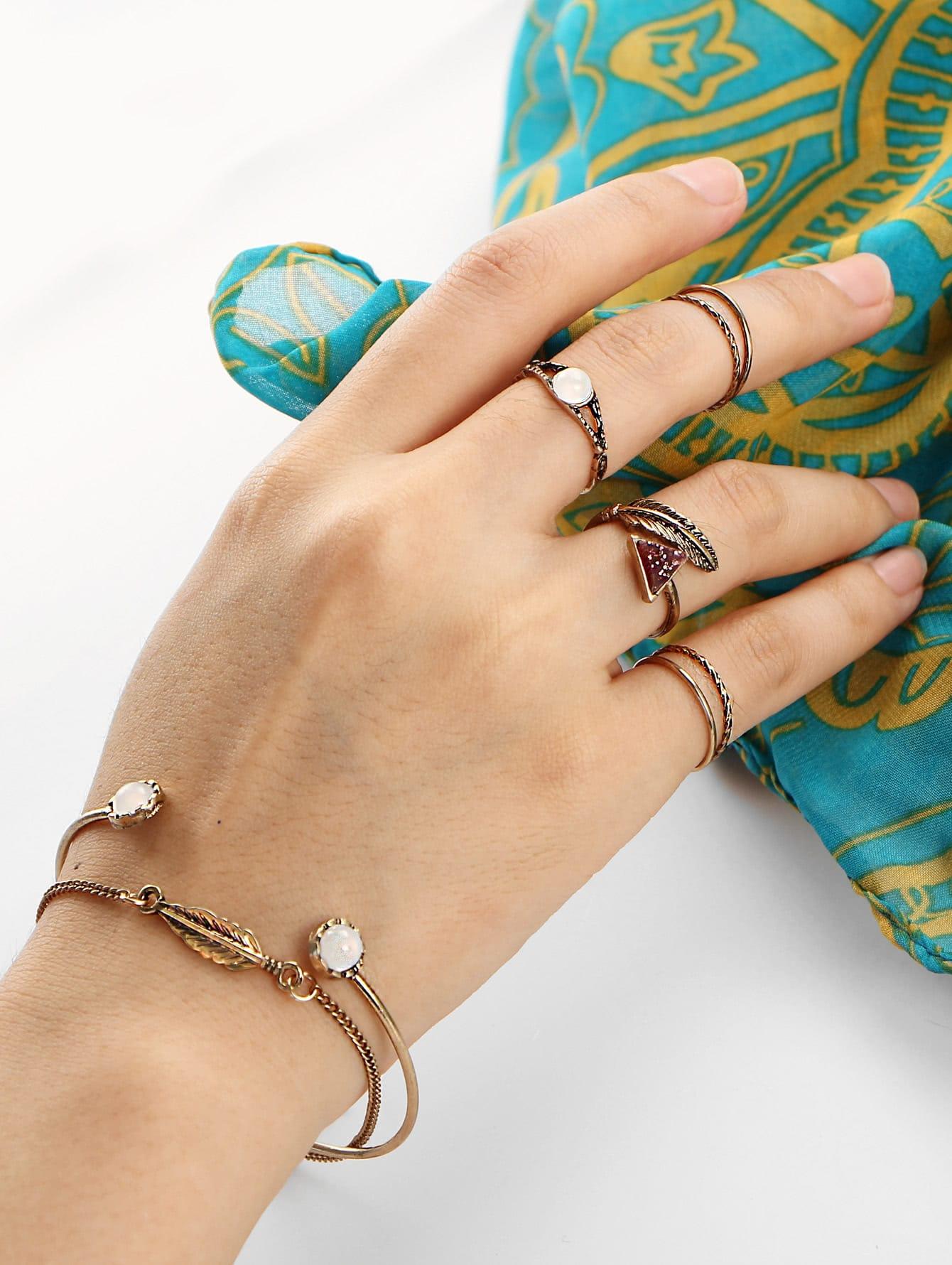 Leaf Design Ring & Bracelet Set leaf opening bracelet