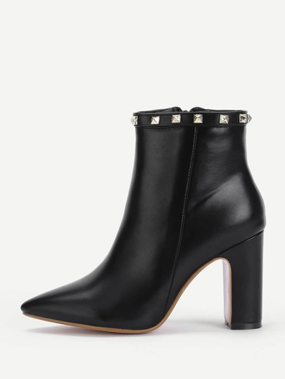 Rockstud Detail PU Ankle Boots