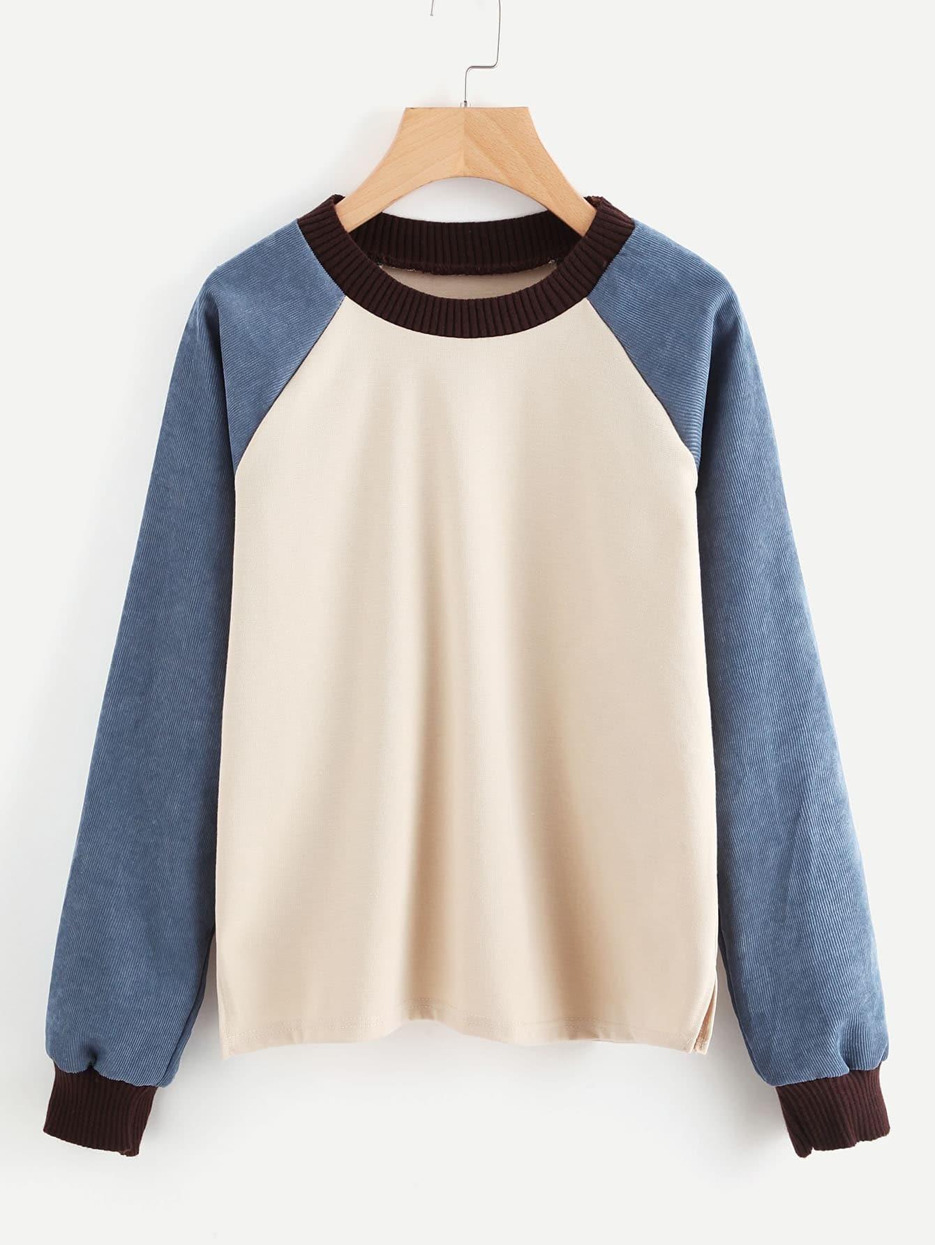 Contrast Raglan Sleeve Rib Trim Pullover