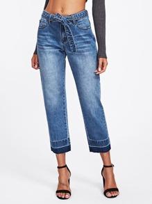 Contrast Hem Self Belt Culotte Jeans